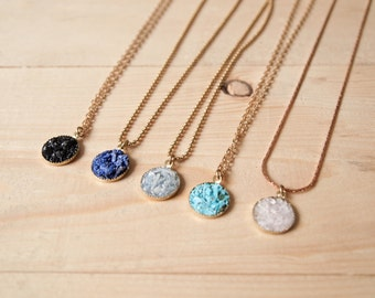 Druzy crystal pendant everyday necklace
