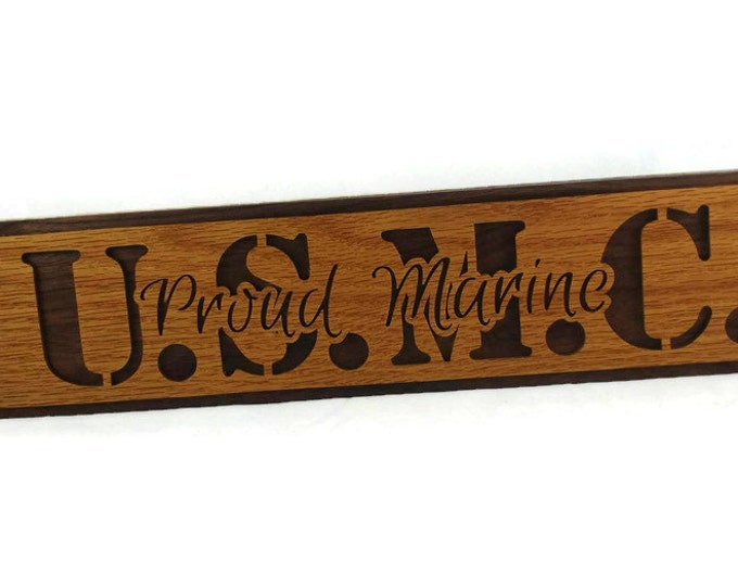 U.S. Marine Corps Wall Hanging Plaque Handmade From Oak And Walnut Wood, U.S. Military Plaques, Service Men, Service Women, Scrollsaw Plaque