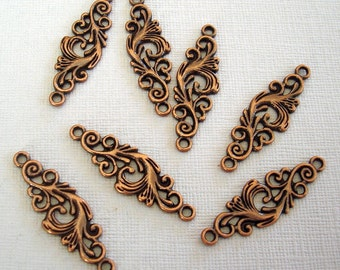 Connector Pendant Charm Antiq Copper Color  Filigree 35x11mm 2holes 2mm.