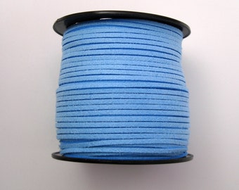 Faux Suede  Lace Leather Cord Flat Light Sky Blue 3x1.5mm-20ft