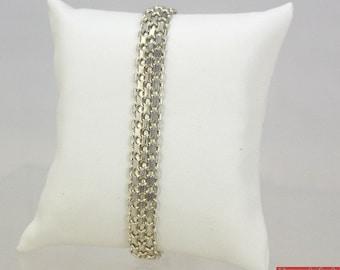 """Vintage Itaor Italian Sterling Silver Woven Mesh 16.6 Gram 8.25"""" Long Bracelet"""