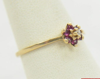 Vintage Diamond 6 Ruby Marked 10k GTR Yellow Gold J.M. Fox Ring Size 6 1/2