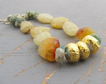 Opal Beacelet - Peruvian Yellow Opal, Emerald & Fine Gold Bracelet - 24k Gold Bracelet - Gemstone Bracelet