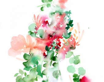Floral Watercolor Print. Wall Art. Flowers. Pink Nursery Decor. Gift for her. Abstract Watercolor Art.