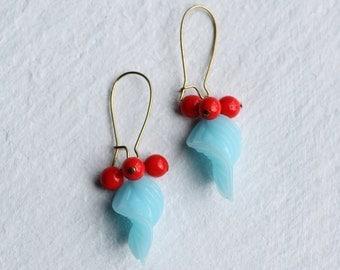 Neon Vine Blue Earrings ... Red Berry Hanging Leaf