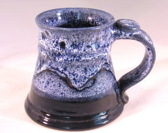 12 oz. Tankard, Stein, Coffee Mug - Handmade Pottery Glazed Dark Cobalt Blue and Light Frosted Blue