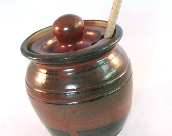 Honey Pot - Honey Jar - Canister - Dipping Stick - Stoneware Crock - Dark Rustic Rust Red  - Handmade Pottery - Pottersong Pottery