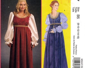 McCall's M5647 Sewing Pattern for Misses' and Women's Renaissance Costumes - Uncut - Size 8, 10, 12, 14, 16
