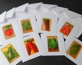 8 Greeting Cards Made with Vintage French Seed Pack Labels 1920-30s Not Reprints