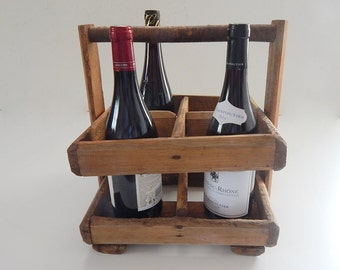 French Vintage 4 Bottle Wine Carrier in Wood