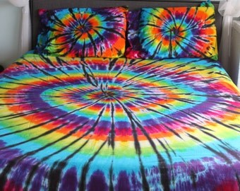Tie dye Bed Sheet Set With Black Accents Twin, Twin XL, Full, Queen, or King