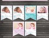 Winter Wonderland Baby Monthly Photo Banner Printable - Lavender Purple Aqua Blue - Baby Month Milestone Banner - Instant Download