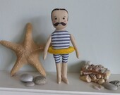 Gentleman swimmer, cloth doll in swimming costume, doll with moustache, male doll, swimming art doll
