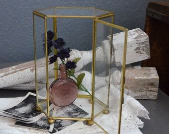 Vintage Brass and Glass Display Case Ball Feet Hinged Door Six Sided Standing Gold Curio Cabinet Miniatures Vintage Box Vintage Glass