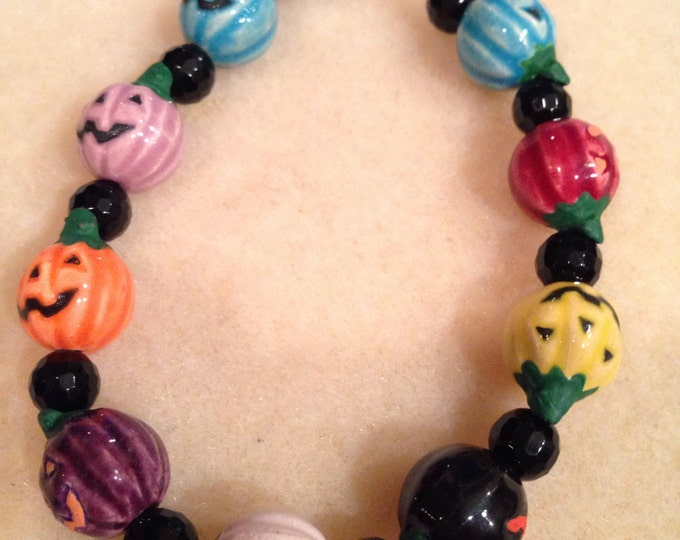 Hand Painted Glazed Halloween Multicolor Jack-O-Lantern Pumpkin & Onyx Faceted Bead Bracelet with Toggle Clasp