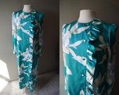 Vintage TORI RICHARD Dress - Hawaiian Gown - Teal Asian Inspired Dress - Small - Medium - Long Sleeve