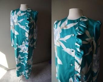 Vintage 60's TORI RICHARD Dress Hawaiian Dress Teal Dress Asian Inspired Dress Small Dress Medium Dress Long Sleeve Dress Hawaii Dress