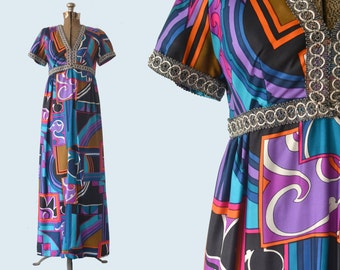 1970s Graphic Pucci look Silk Dress size M