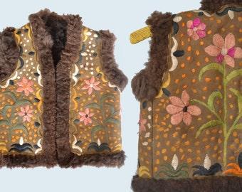 Children's Ethnic Embroidered Sheepskin Vest size XS