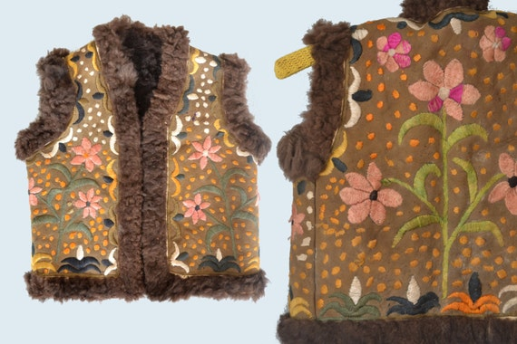 Children's Ethnic Embroidered Sheepskin Vest size XS