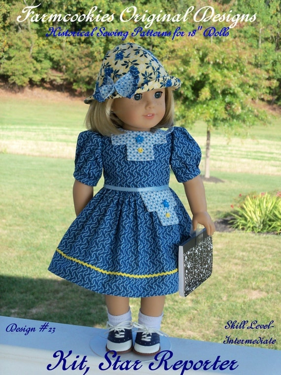 "PDF Sewing Pattern- Kit, Star Reporter / Sewing Pattern for Dress & Hat  for American Girl Kit, Ruthie, Molly or other 18"" Dolls"