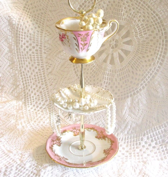 Diy 3 Tier Jewelry Stand: Pale Pink & Gold 3-Tier Jewelry Holder Stand Small Dessert