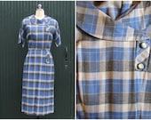 Vintage 1950's Dress | 50s Secretary Plaid Wiggle Day Shirtdress | VLV Mad Men | Size Small