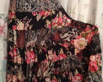 MEDIUM, Hippie Bohemian Tiered Cotton Skirt