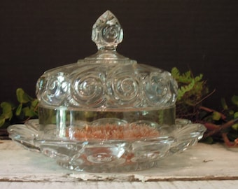 Vintage Glass Butter or Cheese Dish / Cloche Dome Lid / Cheese Plate / Clear Swirl Pressed Glass Dish and Cloche