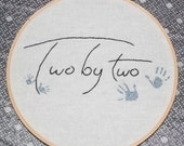 Two by Two, Embroidery Hoop Art, 8 inch