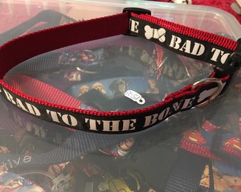 Bad to the bone dog collar size large
