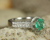 Enchanted Engagement! 2.20tcw Colombian Emerald & Diamond Halo Engagement Ring 14k
