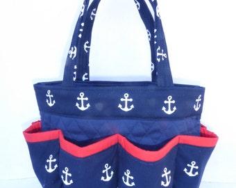 Navy Blue Anchor   Bingo Bag // Craft Organizer // Makeup Organizer // Caddy // Teacher Tote // Nurse Tote