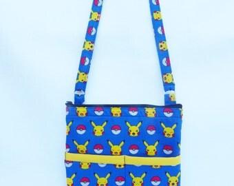 Pokemon Crossbody Bag // Sling Bag // Crossbody Purse // Pokemon Go  // Picachu.