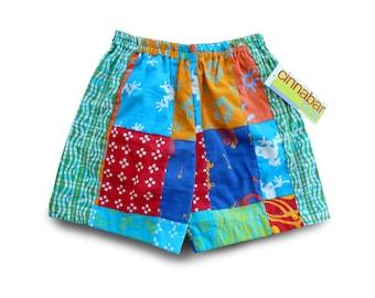 Patch Boys Shorts, Boys Birthday Gift, Boys Patchwork Shorts, Cotton Patch Shorts, Batik Shorts