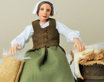 RESERVED FOR CARROLL V, Alice, tudor servant, country woman, market trader, hand sculpted miniature doll in 1/12th, one inch scale, ooak