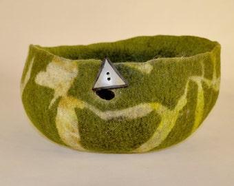 Handmade felt yarn bowl- large