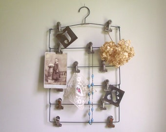 Tiered Clothes Hanger | Multi Clip Hanger | Vintage Clip Board | Industrial Memo Board | Repurposed Vintage Decor