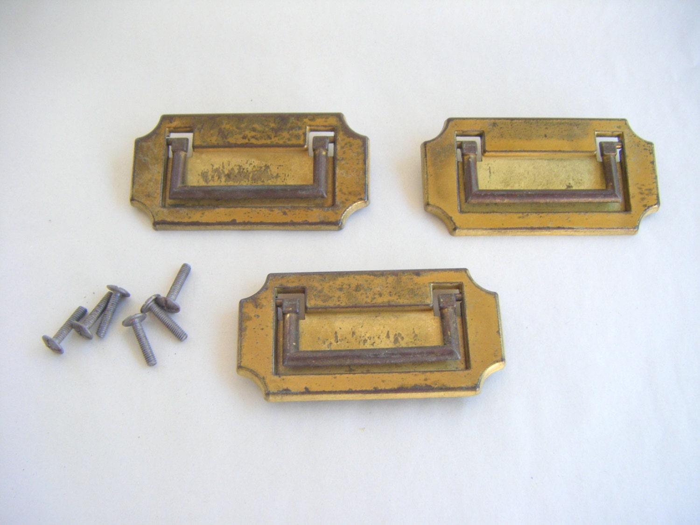 Vintage brass distressed backplate drawer cabinet pulls - Dresser drawer pulls with backplate ...