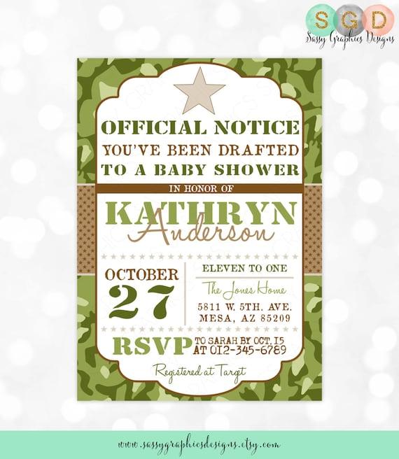 Camo Boy Baby Shower Invite Military Baby Shower Invitation