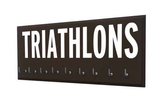 Triathlon: Triathlon medal holder - triathlon gifts - triathlon art - gifts for him - gifts for husband - gifts for dad - gifts for brother