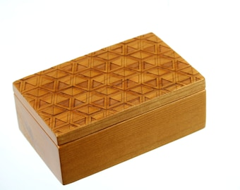 Discontinued Stock - REDUCED PRICE, Box, Wooden Storage Box 5-3/8 x 3-3/8, SB101, Solid Cherry Laser Engraved, Masterpiece Laser