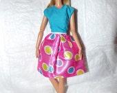 Birthday dress in pink & blue for Fashion Dolls - ed928