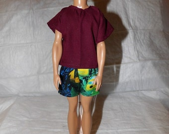 Fish print swim shorts & solid wine shirt for Male Fashion Dolls - kdc73