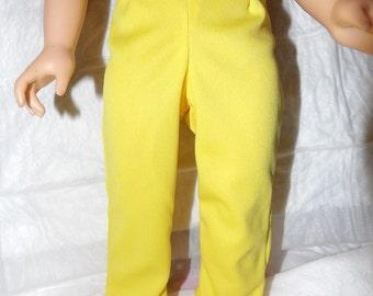 Briigh yellow fleece leggings for 18 inch dolls - ag293