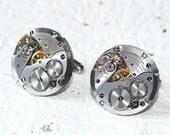 LONGINES Steampunk Men Watch Cufflinks - Luxruy GENUINE Swiss Silver Vintage Watch Movement Steampunk Watch Cufflinks Watch Cuff Links Gift