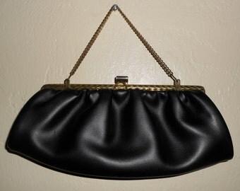 Vintage 1960s black leather pleated satchel / clutch