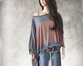 Chest stripe poncho/Cape assymetrical /Shoulder cover up/Dressy blouse