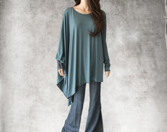 Cape blue steel top/poncho assymetrical /long push sleeve cover up/dressy blouse