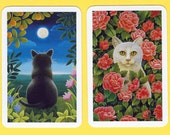AMERICAN (CAT) BEAUTIES (2) Single Swap Playing Cards Paper Ephemera Scrapbook